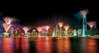 Fireworks over Victoria Harbour, Hong Kong