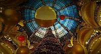 Holiday decorations inside Galeries Lafayette in Paris, France
