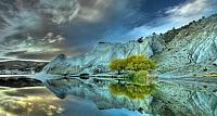 Reflection on Blue Lake, adjacent to St. Bathans, Central Otago, New Zealand