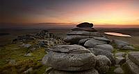Rough Tor at sunset, Bodmin Moor, Cornwall, England