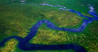Meandering river near cook Inlet, Anchorage, Alaska