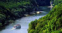 Boat in the Donaudurchbruch gorge on the Danube River near Kelheim, Germany