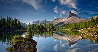 Becco di Mezzodi mountain reflected in Lake Federa in the Dolomite mountains of Italy