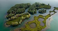 Aerial viewof islands in a sand quarry, Jumieges, Seine Valley, France
