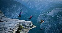 BASE jumpers, Half Dome, Yosemite