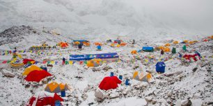 The Mount Everest Base Camp at Khumbu, Nepal (© Kent Harvey/Tandem Stock)