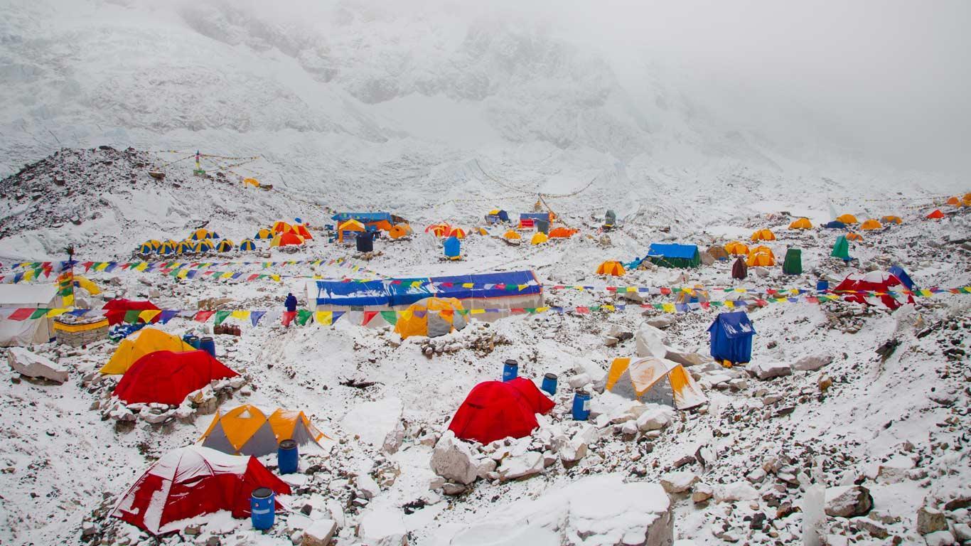 The Mount Everest Base Camp at Khumbu, Nepal (© Kent Harvey/Tandem Stock)