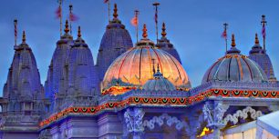 BAPS Shri Swaminarayan Mandir (Neasden Temple) decorated for Diwali, London, England (© Jon Arnold Images/Danita Delimont)