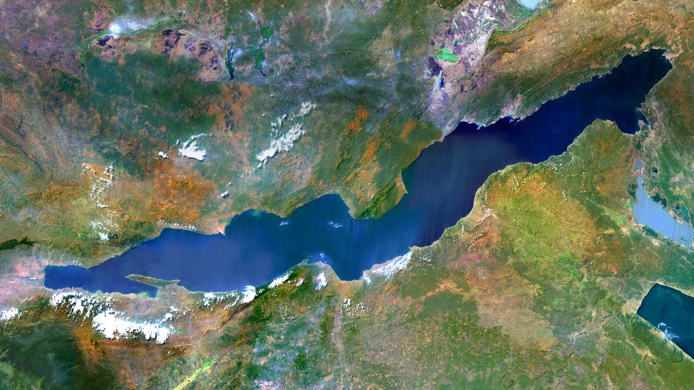 Lake Tanganyika, an African Great Lake divided between four countries: Burundi, Democratic Republic of the Congo, Tanzania, and Zambia (© Planet Observer/Getty Images)