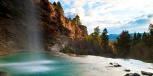 Waterfall at Fairmont Hot Springs near Fairmont, British Columbia, Canada (© Wayne Boland/Getty Images)