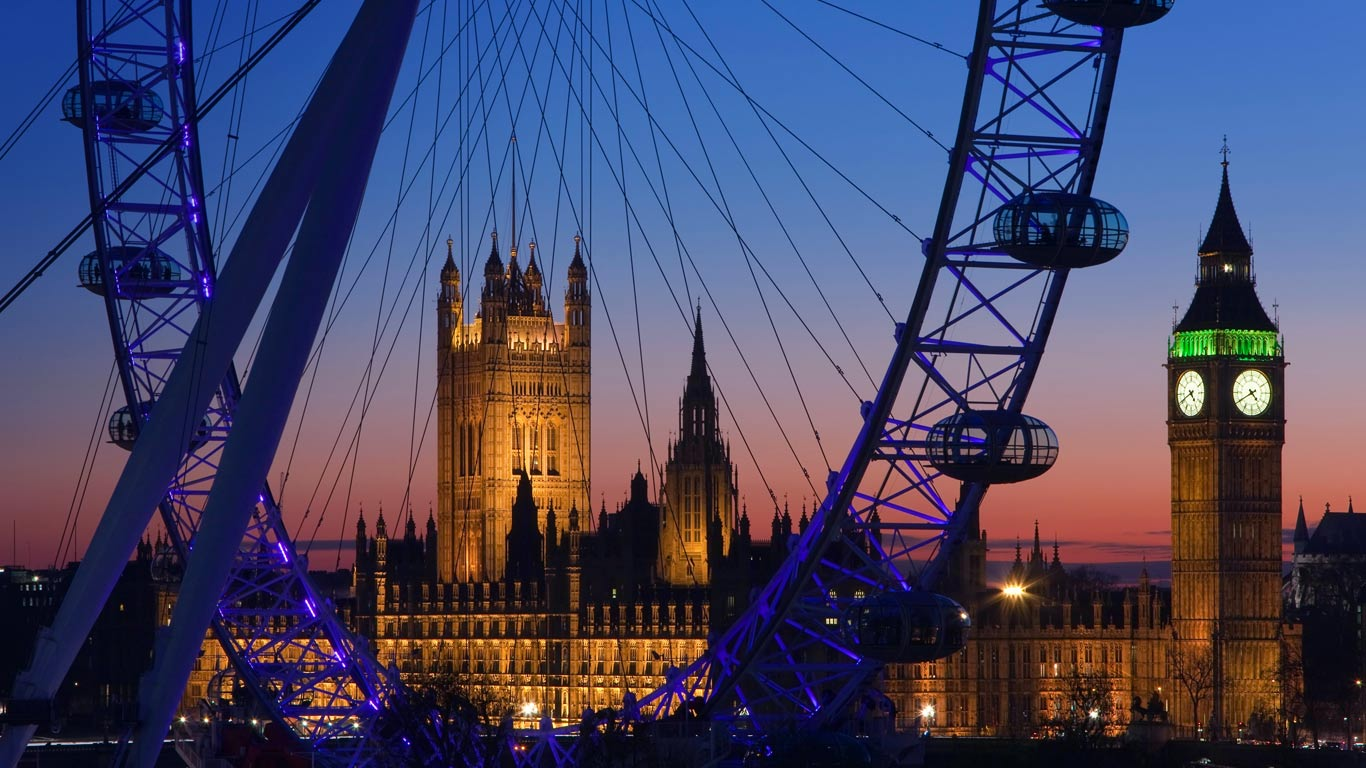 London Eye, Big Ben, and Palace of Westminster, London (© Gavin Hellier/Alamy)