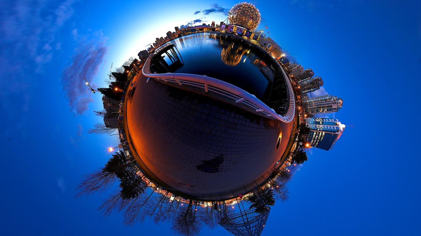 Stereographic projection of False Creek and Science World, Vancouver, British Columbia, Canada (© Randy Kosek/National Geographic Society/Corbis)