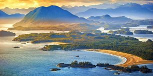 Aerial shot of Tofino with Clayoquot Sound, British Columbia, Canada (© Arnab Banerjee/Tandem Still + Motion)