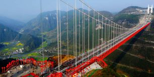 Aizhai Suspension Bridge, Hunan Province, China (© Imaginechina/Corbis)