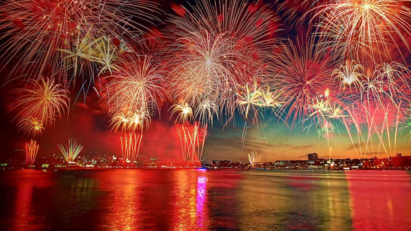 Fireworks display in New York City as seen over the Hudson River from Hoboken, New Jersey (© Steve Kelley aka mudpig/Getty Images)