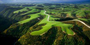 Aerial view of farmlands, North Island, New Zealand (© Paul Chesley/Alamy)