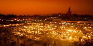 Jamaa el-Fnaa market square, Marrakesh, Morocco (© Ian Egner/Aurora Photos)