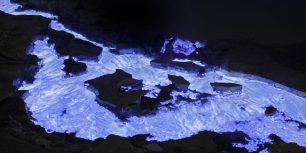 Flaming sulfur from Kawah Ijen volcano, Indonesia (© Martin Rietze/Alamy)