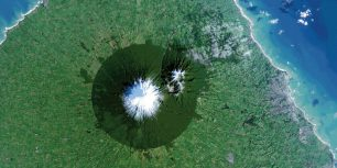 Mount Taranaki in Egmont National Park, New Zealand (© NASA/USGS)