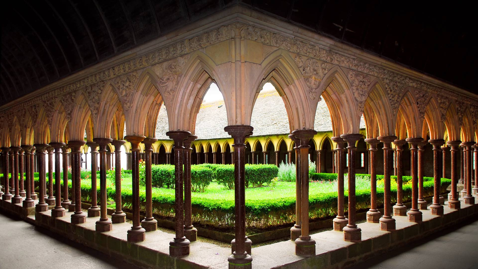 Cloister of Mont Saint-Michel Abbey, France (© Monkey Business Images/Rex Features)