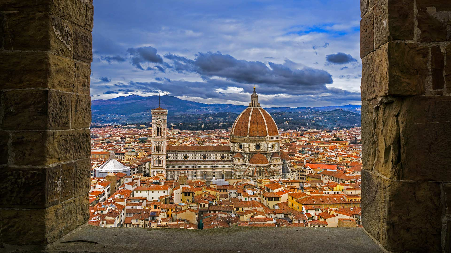 View of the Florence Cathedral from the tower of Palazzo Vecchio in Florence, Italy (© Insung Choi/Tandem Stills + Motion)