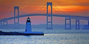 Claiborne Pell Newport Bridge and Newport Harbor Light in Newport, Rhode Island (© Denis Tangney Jr./Getty Images)