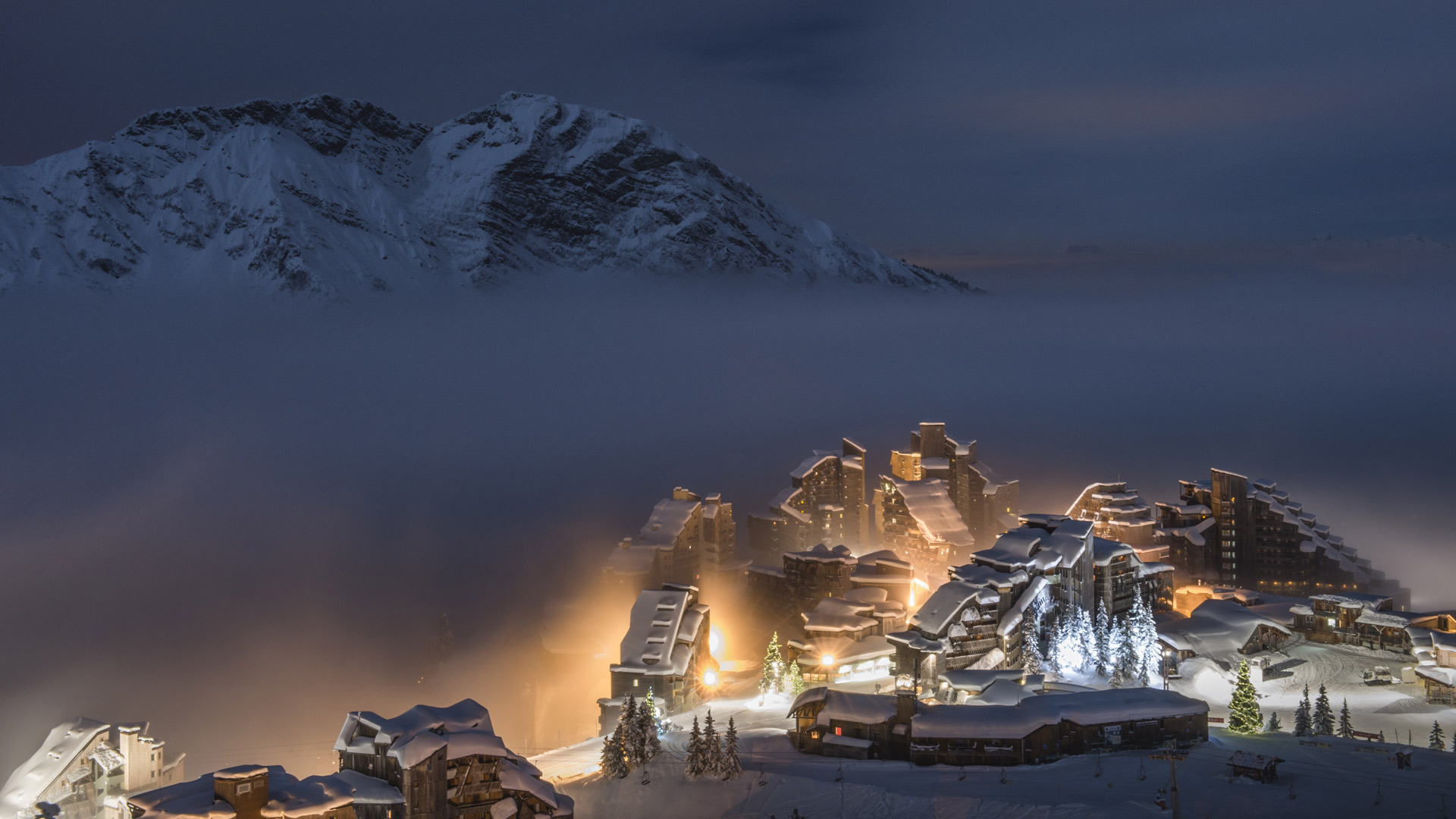 Avoriaz ski resort at night, Haute-Savoie, Rhône-Alpes, France (© Dylan H. Brown/Aurora Photos)