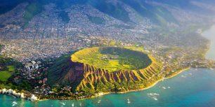 Aerial view of Diamond Head, Oahu, Hawaii  (© Biederbick & Rumpf/Offset)
