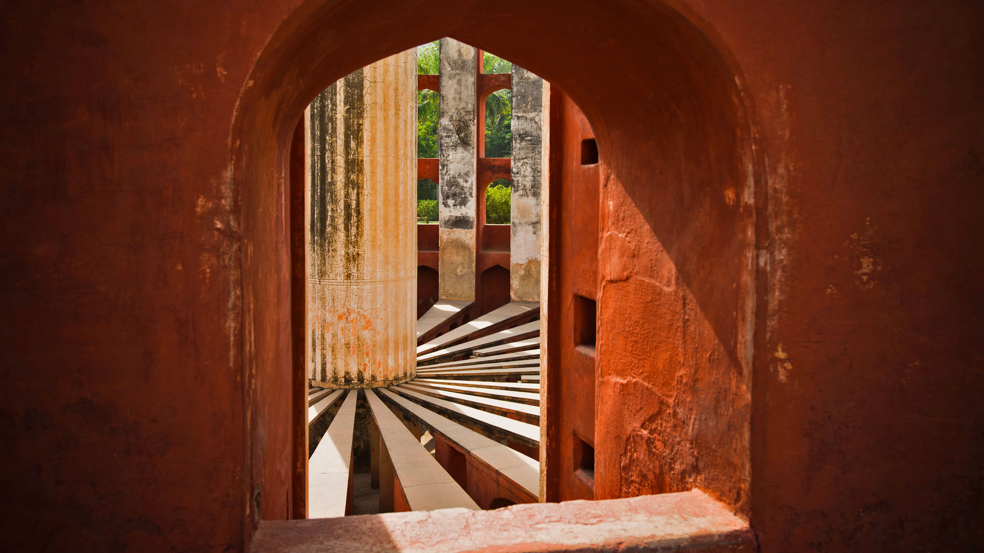 Part of the Jantar Mantar observatory complex in New Delhi, India (© Uniquely India/Getty Images)