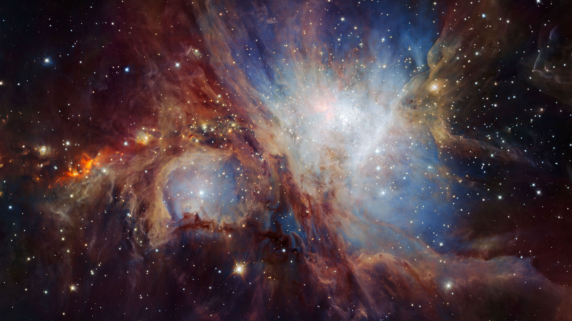 An infrared image of the Orion Nebula taken by the HAWK-I camera in Chile (© NASA)