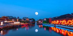 The Qinhuai River in Nanjing, China, during the Mid-Autumn Festival (© zyxeos30/Getty Images)